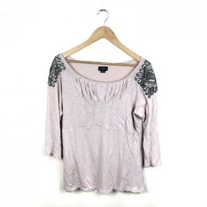 Anthropologie Deletta pink beaded knit top large